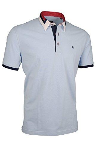 Premium-Poloshirt von Giorgio Capone, einzigartiger Hemdkragen, Pique-Stoff 100% Baumwolle, hellblau, Regular Fit (XXL) (Polo-shirt Piqué Gestreiftes)