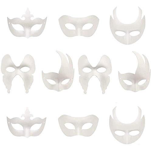 Limeo Masken Blanko Weiße Maske Maske Unlackiert Maskerade Maske Unbemalt Weiß Maske Karneval Maske DIY Dekoration, für Halloween Masquerade Party, Handgemalte Kreative Design Maske, 10 Stück
