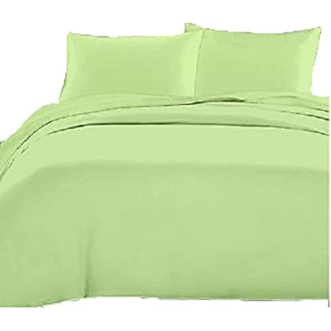 4piezas Juego de sábanas (1sábana bajera ajustable + 1hoja plana + 2funda de almohada) UK tamaño sólido 450hilos con 12pulgadas (30cm) bolsillo profundo, salvia, UK
