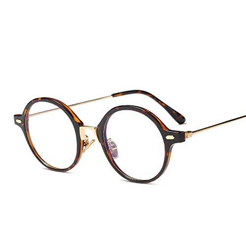 Shengjuanfeng-brillen Einfache Persönlichkeit runde Flache Brille mit klarer Linse, Vintage Geek Eyelasses Männer und Frauen Accessoires (Farbe : Leopard Print)