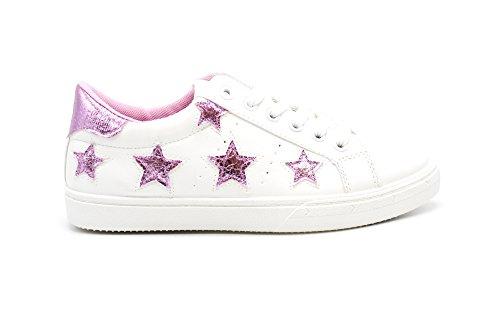 SHY42 * Baskets Tennis Sneakers Simili Cuir Blanc avec Patchs Etoiles et Bout Arrière Tissu Brillant (Rose) Rose
