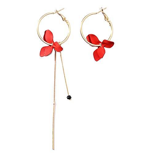 Damen-Ohrstecker, modisch, Blumen-Blätter, asymmetrische Kreise, lange Kette, Quaste, rot -