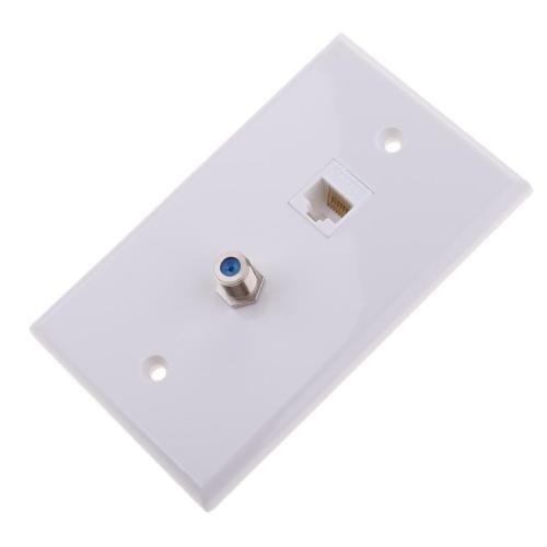 Ethernet Koax RJ45Koaxial F-Typ-Jack Steckdose Abdeckplatte
