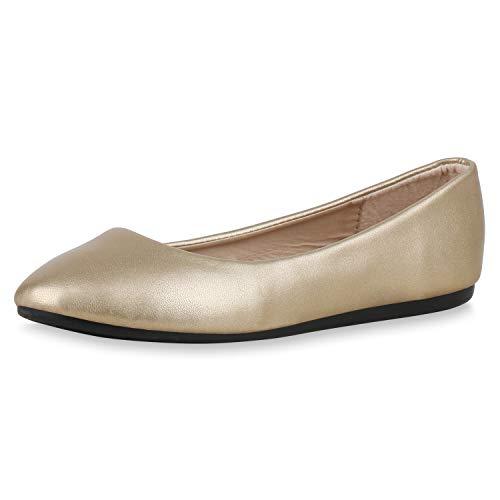 SCARPE VITA Damen Klassische Ballerinas Basic Slipper Slip On Schuhe Flats 174734 Gold Schwarz 38 - Gold Ballet Flat