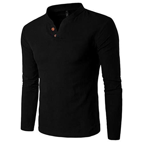 ESAILQ Männer Pullover Herren Herbst Winter Beiläufiges Spleißen Henry Knopf Langes Hülsen Spitzen Bluse(XXX-Large,Schwarz)