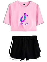 Tops Corto y Pantalones Cortos para Niñas Camiseta de Manga Corta TIK Tok con Pantalón Corto Conjunto Superior Correr Chándal Verano Casual Ropa Deportiva Ropa de Yoga Pijamas