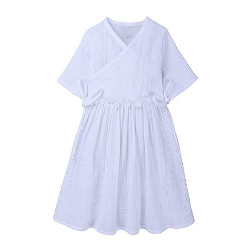 nder Baby Mädchen Leinen Rüschen Rock Prinzessin Kleid Casual Beach Dress Outfits Kleidung Kinder Kurzarm Kleid ()