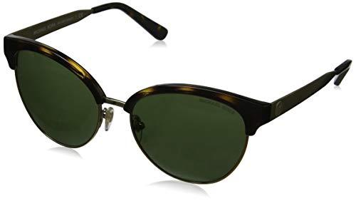 Michael Kors Damen AMALFI 330671 56 Sonnenbrille, Dark Tortoise/Gold-Tone/Green Solid,