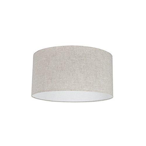 QAZQA Modern Polyester Lampenschirm 50/50/25 Zylinder grau-weiß, Rund gerade Schirm...