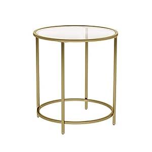 VASAGLE Beistelltisch rund, Glastisch mit goldenem Metallgestell, kleiner Couchtisch, Nachttisch, Sofatisch, Balkon, robustes Hartglas, stabil, dekorativ, Gold LGT20G