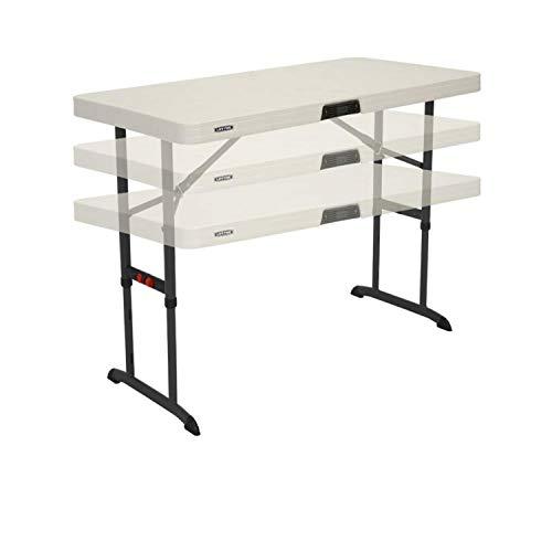 Verstellbarer Tisch (Lebenslange Vierfußgehstütze (122x 61cm) zusammenklappbar, rechteckige Tisch mit verstellbarer Höhe)