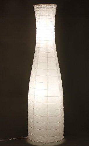 Preisvergleich Produktbild Trango Reispapier Stehleuchte Stehlampe in modernem Design 125 x 35cm (in weiß / Flaschenform inkl. 2x LED Leuchtmittel TG1231-026L)
