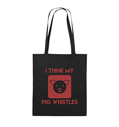 Comedy Bags - I THINK MY PIG WHISTLES - Jutebeutel - lange Henkel - 38x42cm - Farbe: Schwarz / Pink Schwarz / Rot