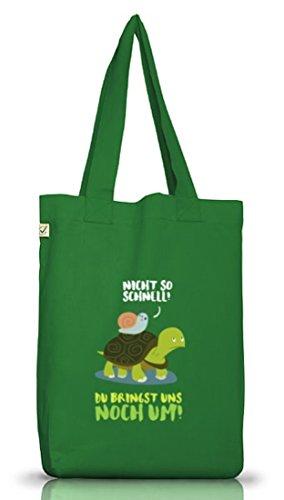 Turtle Jutebeutel Stoffbeutel Earth Positive mit Turbo Schildkröte Motiv Moss Green