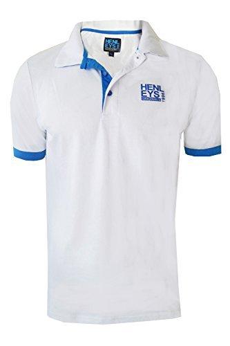 Herren Henleys Designer Hyperbolish Freizeit Polohemd Kragen Piqué Oberteil  Kurzärmelig T-shirt Hyperbolish Weiß Kobalt