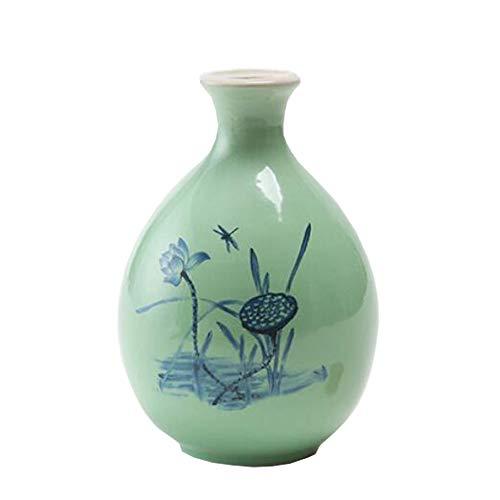 Mini chinesische Keramik Blumenvase Bud Vase Weinflasche, ideales Geschenk für Home Office, Dekor, Tischvasen, Bücherregal Ornamente Flaschen, Lotus Cyan