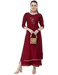 DesiNoor A Beautiful Fancy Designer kurta Palazzo set on rayon Fabric in Maroon color with siroski work DN122RM