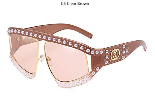 Cranky Orange Übergroße Sonnenbrille mit halbem Gestell Frauen Männer Pearl Luxury Brillen weiblich 2019 Gradient Pink klare Linse Brillen, C5 Clear Brown