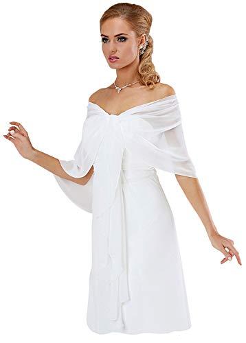 BrautChic Chiffon Stola Chiffonschal perfekt zu jedem Brautkleid - Abendkleid, Hochzeit Abend Gala Empfang - RUTSCHT NICHT - WEIß - ca. 245cm lang -