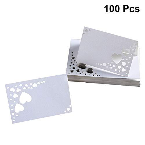 STOBOK 100 stücke Hohl Herz Hochzeit Tabellenname Tischkarten Laser Cut Tabellennummer Karten Hochzeit Verlobungsfeier Tabellenmittel Dekorationen Weiß