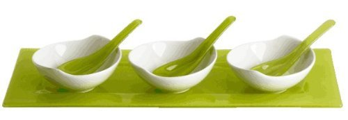 tasters-serving-set-n158-green-fused-glass-tray-w-3-white-porcelain-bowls-by-tasters-choice