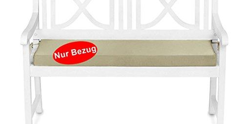 Bezug für Gartenbank Auflage Sitzkissen wasserabweisend (120x42x6cm) Beige