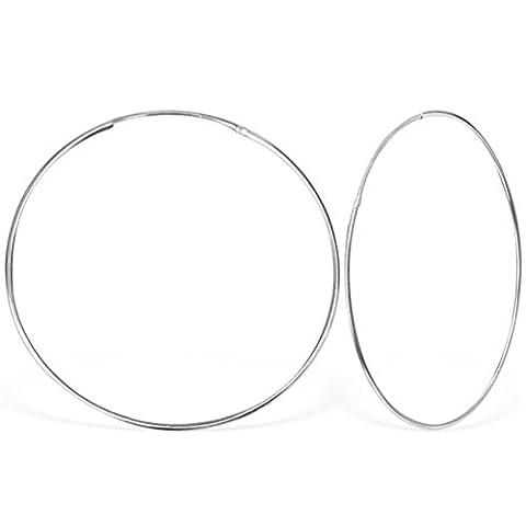 DTPSilver - 925 Sterling Silver Hoops Earrings - Thickness 1.2 mm - Diameter 50 mm