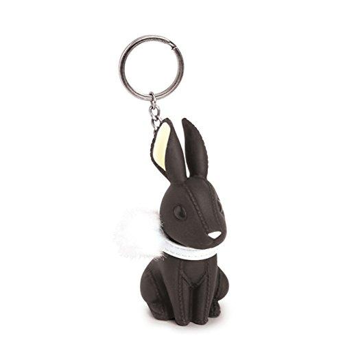 AnaZoz Schmuck Schlüsselanhänger Haustier Fahrzeugschlüssel Hase Taschenanhänger Geschenk für Herren Damen Schwarz