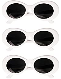 17172d20c8 F Fityle 3 pack Retro Clout Goggles Glasses Oval Bold Mod Thick Framed  Sunglasses for