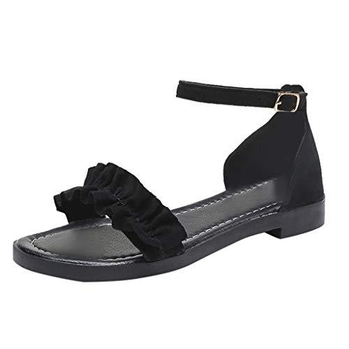 Ziyou Frauen Sandalen Flache Schuhe Mode Knöchelriemen Schnalle Casual Button Flare Sandalen(36, Schwarz) - Flare Kicker