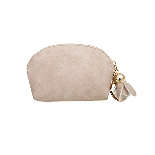 Kanpola Women Leather Small Mini Wallet Holder Zip Coin Purse Clutch Handbag Beige