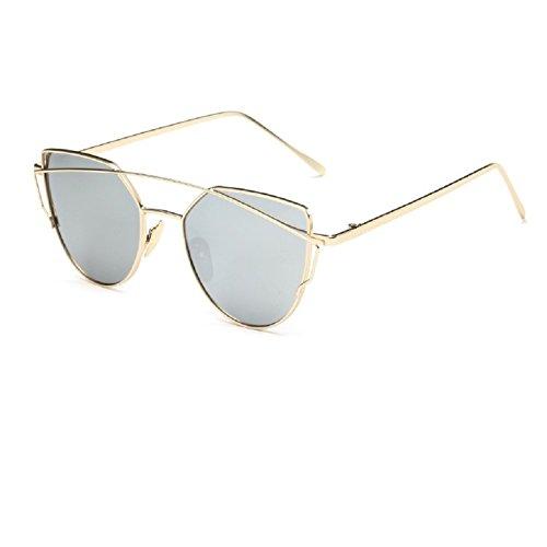 O-c - eleganti occhiali da sole unisex, con montatura in metallo e lenti polarizzate da 53 mm bianco gold frame,silver lens