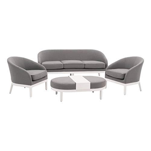 OUTLIV. Loungemöbel Outdoor Amarillo Loungegruppe 4-teilig Lounge-Set Aluminium/Textil-Sunbrella® Weiß/Grau Design Gartenlounge modern Balkon Terrasse
