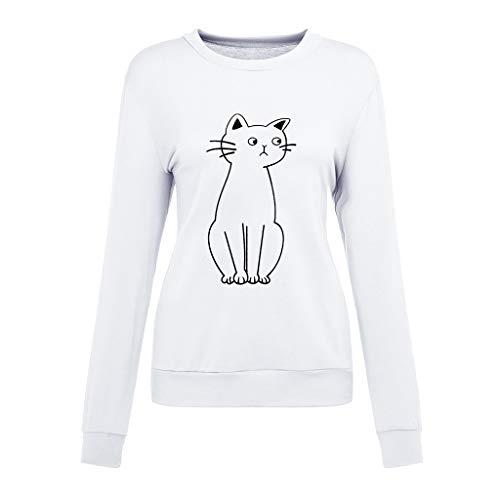 6c85ff004da0 MCYS T-Shirt Femme Pas Cher - Femmes Dames Chat Impression T-Shirt à