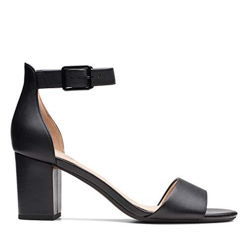 Clarks Deva Mae, Scarpe con Cinturino alla Caviglia Donna, Nero (Black Leather -), 37 EU