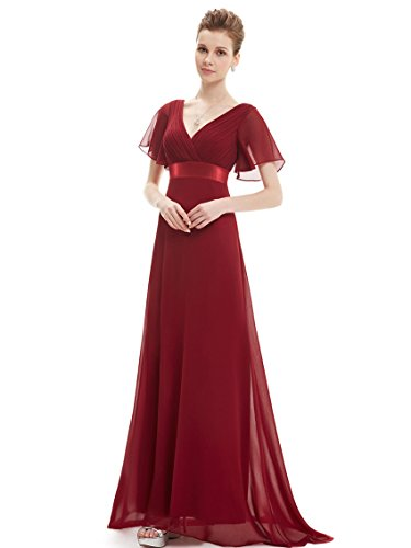 Ever Pretty Damen V-Ausschnitt Lange Abendkleider Festkleider Größe 40 Burgundy