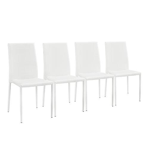 [en.casa] 4 x Sedia da pranzo (bianco) con similpelle imbottito di alta qualita per sala da pranzo/salotto/cucina - set