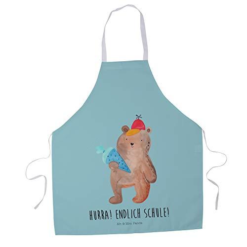 Mr. & Mrs. Panda Backen, Küchenschürze, Kochschürze Bär mit Schultüte mit Spruch - Farbe Türkis Pastell