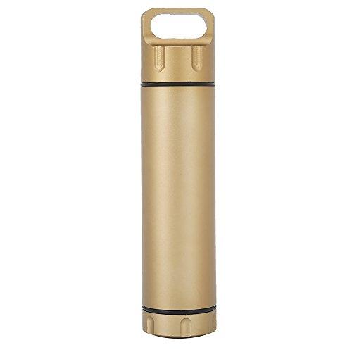 Alomejor Pillendose, tragbar, wasserdicht, Aluminiumlegierung, für den Außenbereich, Gold