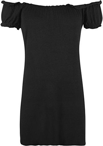 WearAll - Damen Übergröße U-Boot-Ausschnitt Schulterfrei Boho Top - 16 Farben - Größe 42-56 Schwarz