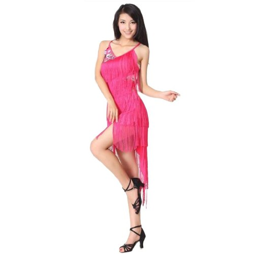 Damen unregelm??ig Makramee Saum Paillette dekorativ Latin tanzenkleid Rosa
