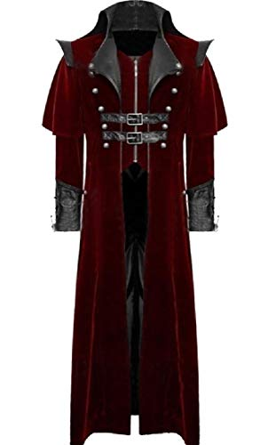 CuteRose Men's Open Front Gangster Deluxe Gothic Punk Duster Coat Red M Mens Double Breasted Trench Coat