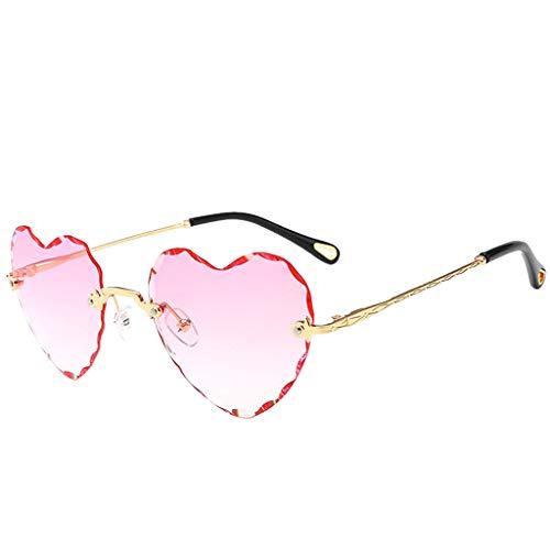Hellery Herz Sonnenbrille Sunglasses perfekt für Outdoor-Aktivitäten oder Party - Rosa