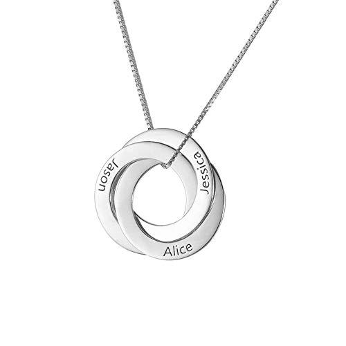 FanSi Namenskette 925 Silber Damen Kette Mit Gravur Persönalisierte Namen Halskette Russische Verwobene Runde Anhänger (Personalisierter Name Halskette)
