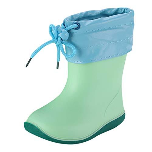 Alwayswin Kleinkind Kinder PVC Rain Boot Gummistiefel Plus Samt Regenstiefel Baby Jungen Mädchen Regen Aufladungen wasserdichte rutschfeste Schuhe Bequem Weicher Boden Kinderschuhe -