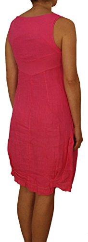 20337 Damen Leinen Kleid Frauen Sommer Kleid mit Volant am Saumen lang figurbetont grau blau schwarz weiß beige grün M L XL XXL. Pink