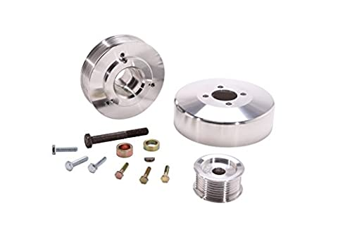 BBK 15550 Underdrive Performance Pulley Kit - CNC Machined Aluminum 8-Rib for Ford F Series Truck, Expedition 4.6L, 5.4L - 3 Piece by BBK Performance