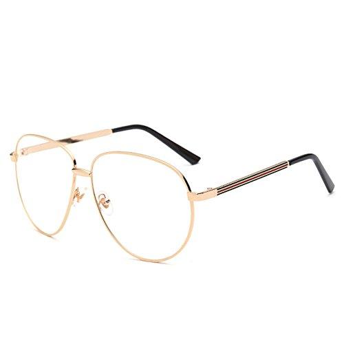 OUTEYE Unisex Dekobrillen Große Rahmengläser Pilotenbrille Metallrahmen Fensterglas Vintage...