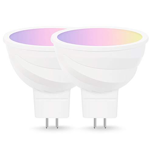 LOHAS Smart LED Lampen, mit MR16 Sockel, RGB Mehrfarbig Color Ambiance LED Lampe, Dimmbar, Ersetzt 50W Glühbirne, Keinen Hub Erforderlich, Kompatibel mit Amazon Alexa, IFTTT und Google Home, 2er