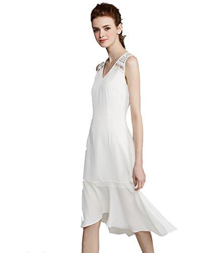 Jollychic Damen A-Linie Kleid Weiß